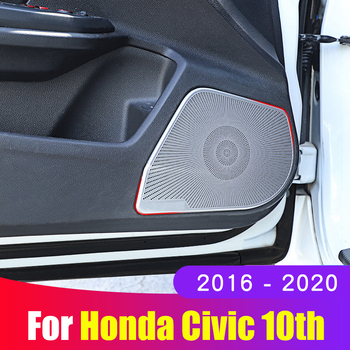 stainless steel Interior Trim Door Audio Speaker decorative Cover For Honda Civic 10th 2016 2017 2018 2019 2020 Accessories decoration circle trims for 10th gen honda civic a pillar car door audio speaker rings trims for honda civic 2016 2017 2019 2019