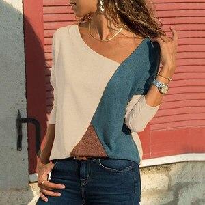 Новинка, 1 шт., женские футболки, длинный рукав, круглый вырез, пэчворк, пуловер, облегающий, для женщин, Осенние Топы CTN88