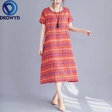 Plus Size Linen Printed Midi Dress for Women Summer Casual Boho Loose Short Sleeve O-neck Floral Dress Elegant Club Party Dress fashionable round neck short sleeve plus size printed dress for women