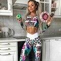 Женский комплект из 2 предметов с принтом, комплект для йоги с длинными рукавами, повседневный костюм для уличного спорта, фитнеса, спортивн...