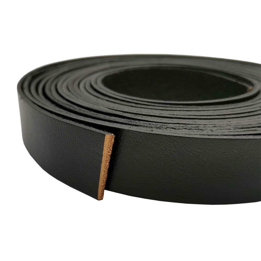 1 Yard 20x2mm Black Flat Leather Strip 20mm Wide Genuine Cow Hide Leather Band