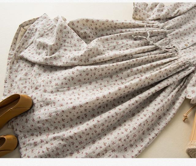Soft Cotton Yarn Drawstring Peter Pan Collar Long Sleeve Floral Dress 6