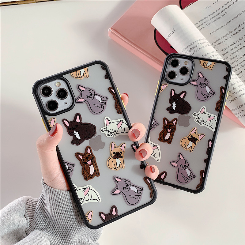Cute Bulldog Pattern Phone Case For Iphone 7 8 Plus X XR XS Max 11 Pro Max Back Cover Fashion Transparent Cartoon Hard Cases