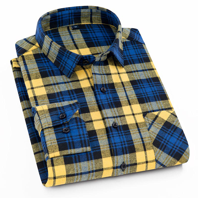 Aoliwen Casual Men Palid Shirt Flannel Cotton Autumn Spring Long Sleeve Male Social Fashion Shirts Slim Fit Pleasant Material
