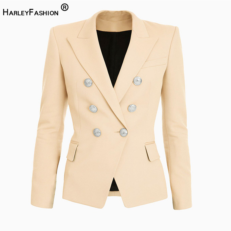 Spring Autumn Design European American Solid Beige Jackets Double Breasted Buttons Skinny Fit Blazers Plus Size High Quality