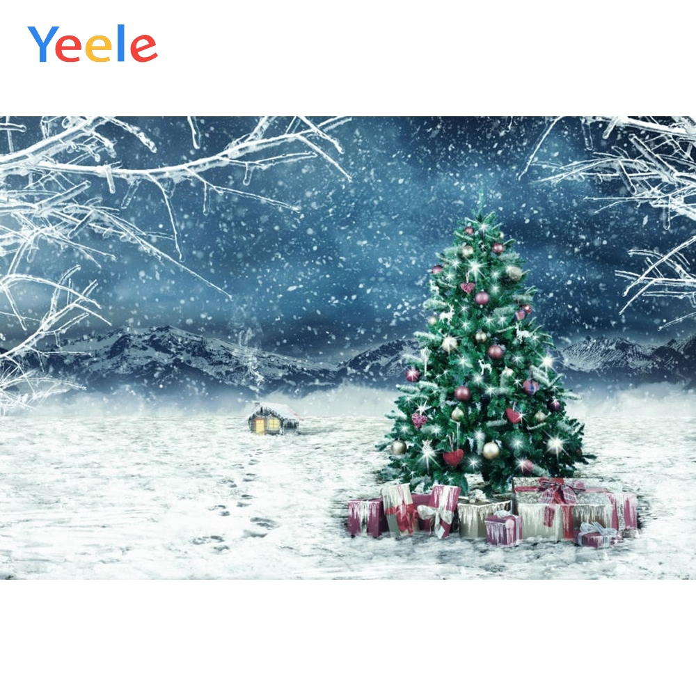 Yeele Christmas Backdrop Winter Tree Snow Ice Branch Gift Customized Photography Children Birthday Background For Photo Studio in Background from Consumer Electronics
