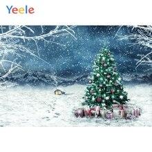 Yeele Christmas Backdrop Winter Tree Snow Ice Branch Gift Customized Photography Children Birthday Background For Photo Studio