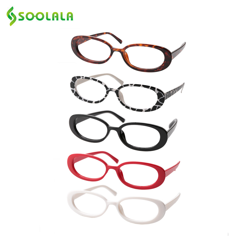 SOOLALA 5 Pairs Cute Oval Small Frame Reading Glasses Women Eyeglass Frame Prescription Reader Glasses 0.5 0.75 1.0 1.25 To 4.0