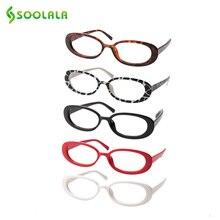 SOOLALA 5 Pairs Nette Oval Kleine Rahmen Lesebrille Frauen Brillen Rahmen Rezept Reader Gläser 0,5 0,75 1,0 1,25 zu 4,0