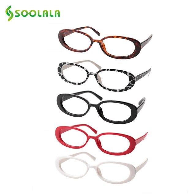 SOOLALA 5 Pairs śliczne owalne mała ramka do czytania okulary kobiety oprawki do okularów okulary korekcyjne 0.5 0.75 1.0 1.25 do 4.0