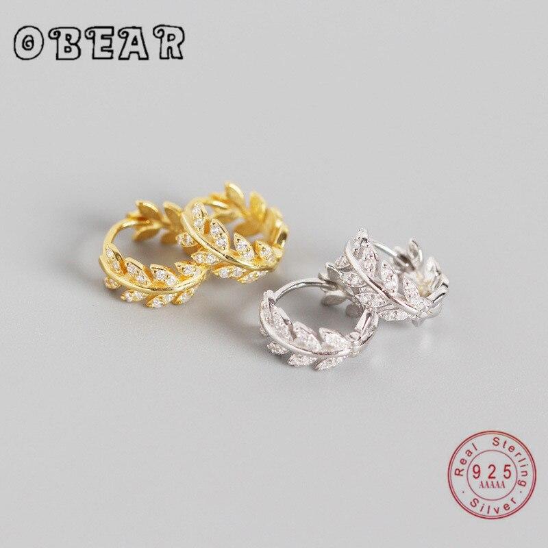 OBEAR100 % 925 스털링 실버 절묘한 지르콘 올리브 잎 스터드 귀걸이 여성을위한 스털링 실버 주얼리