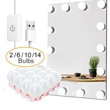 LED Professional Makeup Mirror Light Full Backlit Mirror USB Table Mirror with Light 6 10 14Bulbs Hollywood Vanity Lights