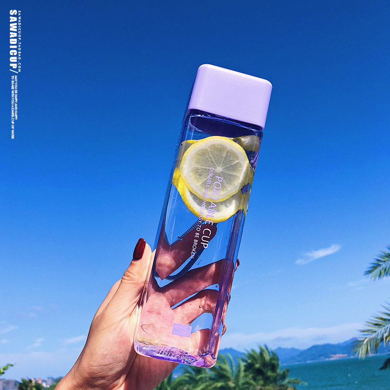 He3b93e1a12bf4394b6a5afaa929864feM 500ml Cute New Square Tea Milk Fruit Water Cup for Water Bottles Drink with Rope Transparent Sport Korean Style Heat Resistant