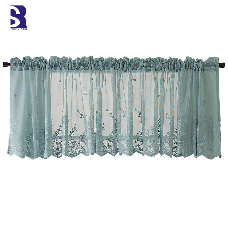 sunnyrain 2 piece lace short curtain for kitchen white window curtains tulle door curtain kids bedroom sheer curtains