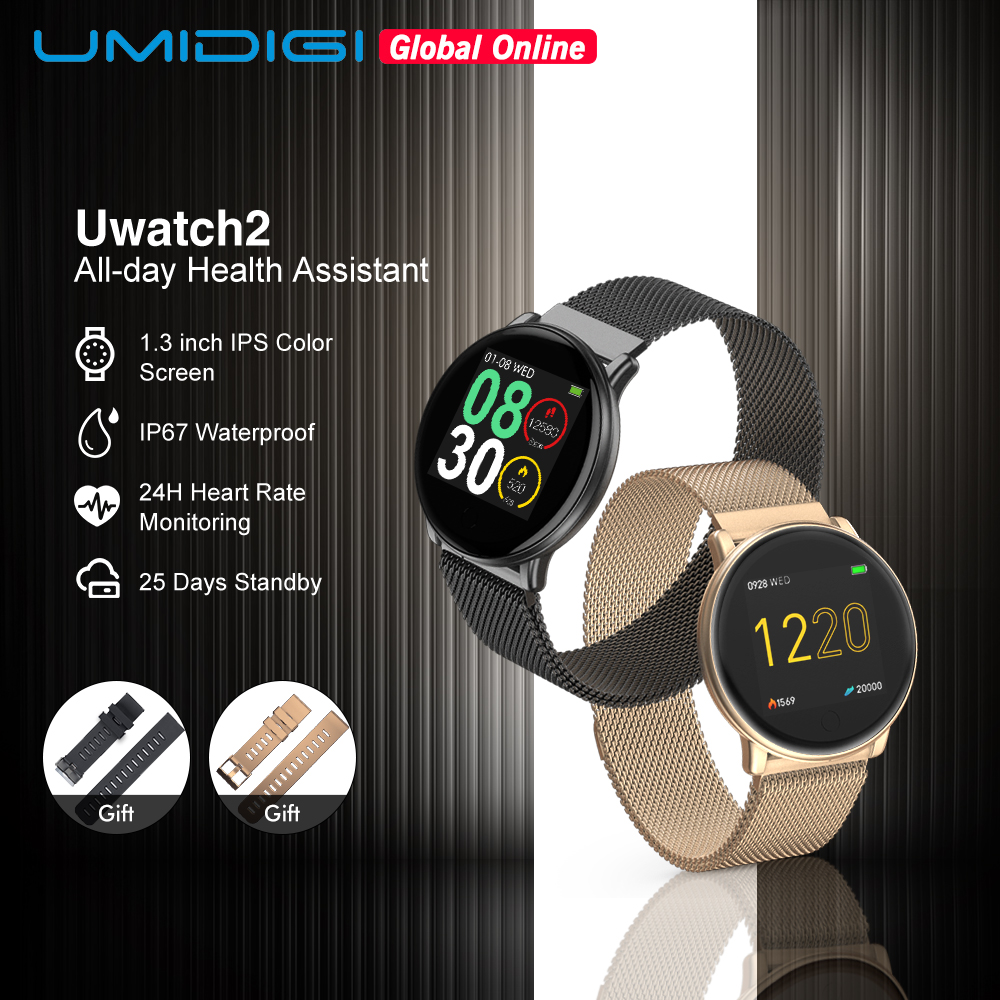 UMIDIGI Uwatch2 Man Smart Watch Women Android IOS Waterproof IP67  1.33 Full Metal Touch Screen 7 Sport Modes Heart Rate MonitorSmart  Watches