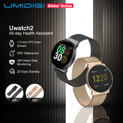 Umideli Uwatch2 reloj inteligente para Andriod, IOS 1,33 'pantalla táctil completa IP67 25 días en espera 7 modos deportivos Full Metal Unibody reloj