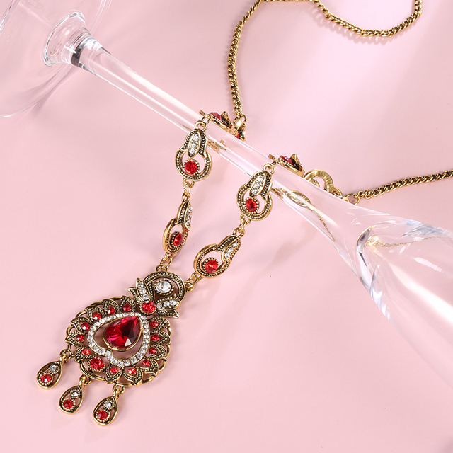 From India Vintage Look Jewelry Sets Pendants Necklace Earring For Women Gold-Color Mosaic  Blue Crystal Party Gifts 3