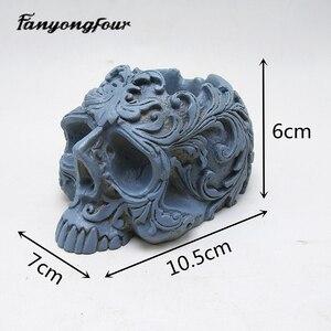 Image 4 - Schedel bloempot siliconen mal bakvorm kaars hars chocolade snoep gips mold gratis verzending
