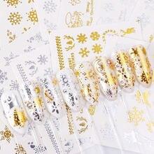 16 шт водная наклейка для ногтей и снежинки рождественские знаки