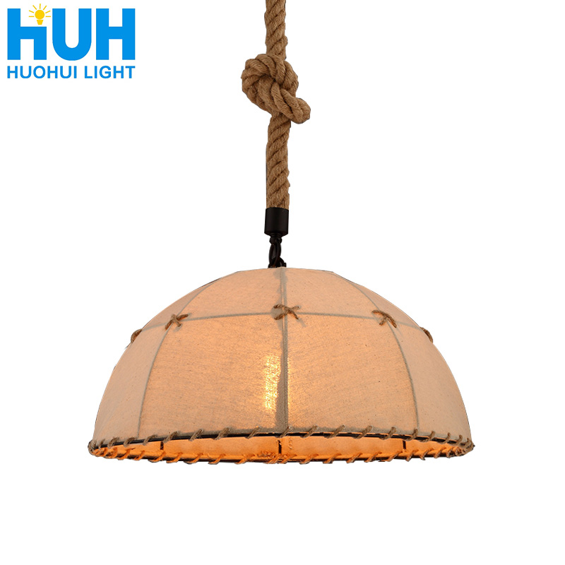 Industrial Style Retro Hemp Rope Cover Chandelier Loft Creative Personality Barber Clothing Store Restaurant Decoration Lamp