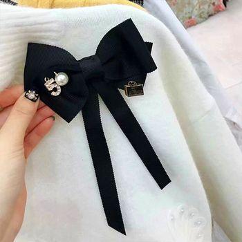 Drop Ship&Wholesale Women Long Ribbon Bow Tie Brooch Number 5 Faux Pearl Lapel Pin Pre-Tied Necktie Nov.20 chic faux pearl rhinestone number shape brooch for women