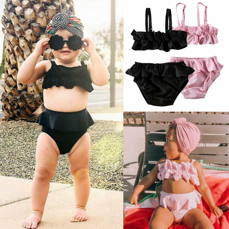 Toddler Baby Girls Ruffle Sling Swimwear Bow Bikini Swimsuit Swimming Costume Solid Bikini Set