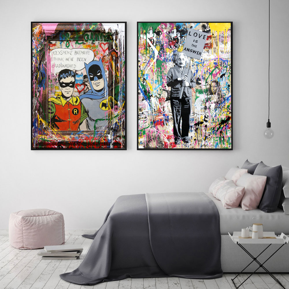 Graffiti wall art canvas Banks poster Nordic decorative picture living room bedroom children room decoration
