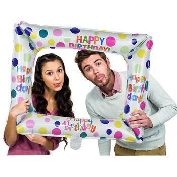 1 sztuk urodziny Photo Booth balony foliowe balon z nadrukiem Happy Birthday ramka na zdjęcia Globos zdjęcie rekwizyty urodziny dekoracje świąteczne tanie i dobre opinie ZQNYCY Taśmy CH23 Ślub i Zaręczyny Chrzest chrzciny Wielkie Wydarzenie Birthday party Dzień dziecka Powrót do szkoły