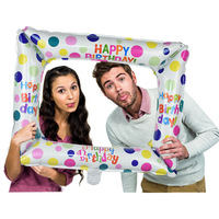 1Pcs Birthday Photo Booth Foil Balloons Happy Birthday Balloon Photo Frame Globos Photo props Birthday Party Decorations