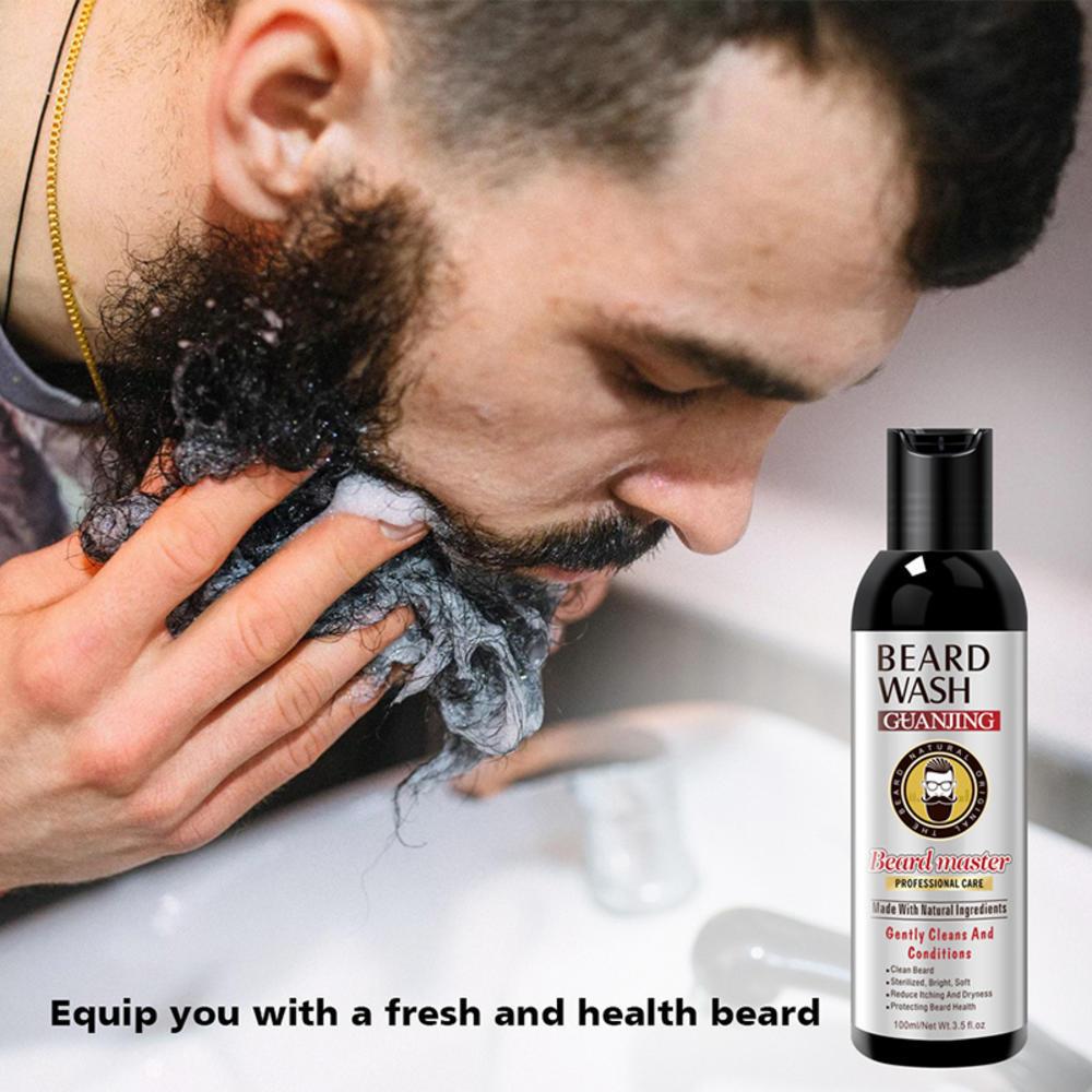 100ml Men Beard Wash Beard Shampoo Deep Cleansing Nourishing Beard Hair Cleanser Vitamin Essence Repair Beard Shaping Supplies