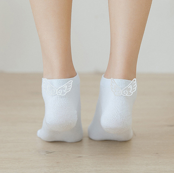 5Pairs/Lot Women Cotton Socks Angel Wing Summer Spring Funny Cute Fashion Breathable Heel Short Solid Casual Ankle Boat Sock image