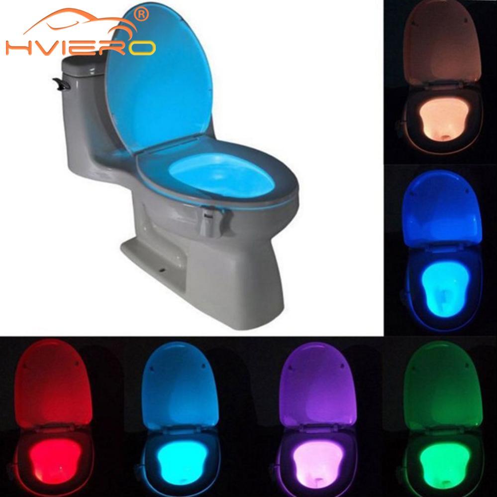 1 pièces siège de toilette veilleuse Smart PIR capteur de mouvement 8 couleurs étanche rétro-éclairage pour cuvette de toilette LED Luminaria lampe WC toilette
