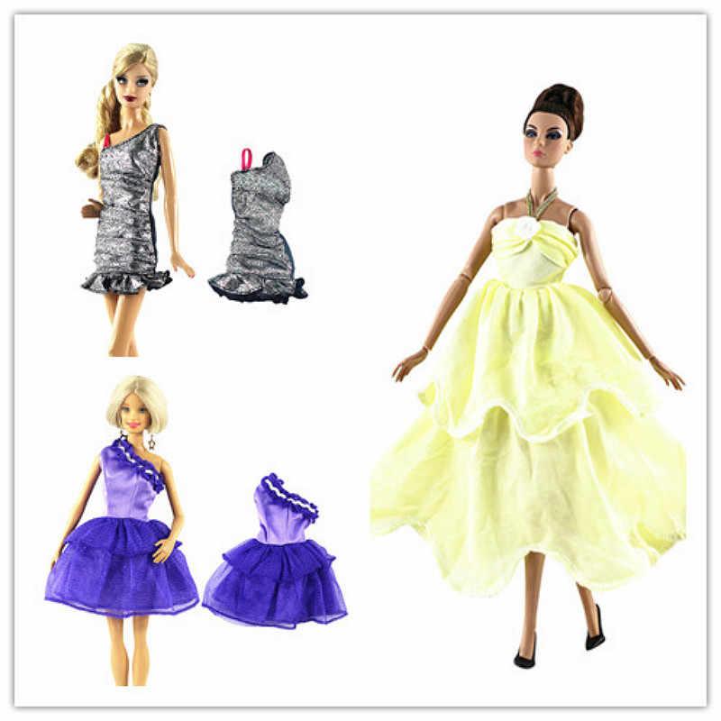 1 Pcs צהוב שמלת בובת אביזרי אופנה ססגוניות תלבושת גל נקודת חולצה רשת דנים חצאית יומי מזדמן ללבוש בגדים