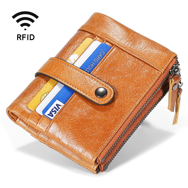 Mens Wallet High Capacity Multi-Card Slot Coin Purse Brown