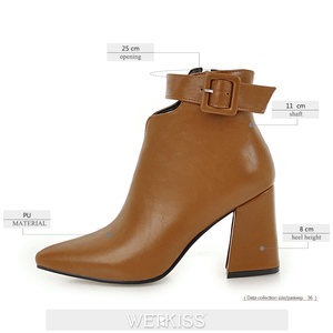 Image 2 - WETKISS Ankle Strap High Heels Women Boots Pointed Toe Footwear Zip Female Booties Pu Shoes Woman Autumn 2020 Plus Size 34 46