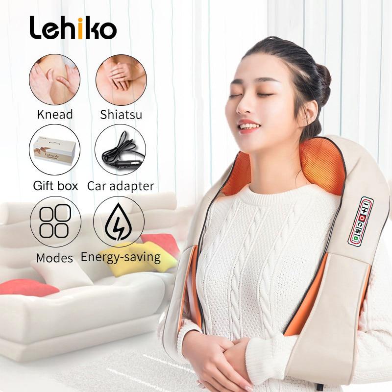 U Shape Electrical Shiatsu Back Neck Shoulder Body Massager Infrared Heated 4D Kneading Car/Home Massagem 1