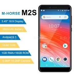M-HORSE 3g Смартфон Android 8,1 2800 мАч мобильный телефон 1 Гб + 16 Гб четырехъядерный 5,45 дюймов 18:9 полный экран 8MP двойная камера мобильный телефон