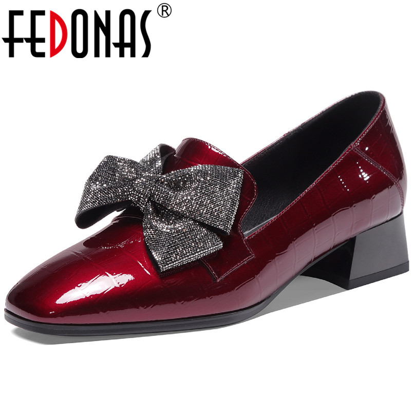 FEDONAS Butterfly Knot Women Cow Patent Leather Pumps Night Club Sexy Square Heels Pumps Shoes New Spring Cross Tied Shoes Woman
