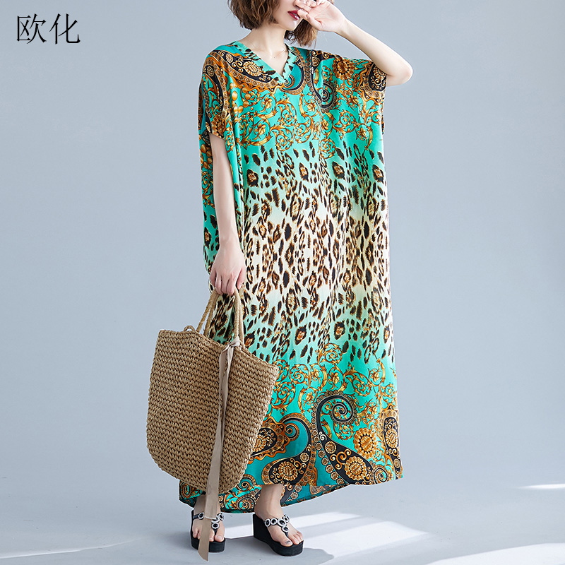 <font><b>Women</b></font> Leopard Print Summer Dress Vintage Batwing Sleeve <font><b>Plus</b></font> <font><b>Size</b></font> 4XL 5XL 6XL <font><b>7XL</b></font> Boho Dresses Robe Femme Loose Maxi Long Dress image