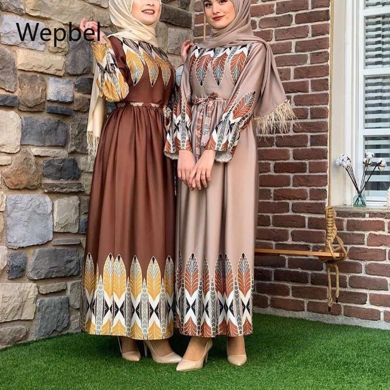Wepbel Middle East Arab Abaya Big Swing Turkey Leaf Print Robe Muslim Slim Dress Long Sleeve High Waist Slim Fit Islamce Clothes