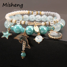 Misheng Brand 2019 Fashion Sea Beach Style Bracelet Zircon Crystal Natural Stone Dolphin Shell Woman Holiday Party Cute Jewelry