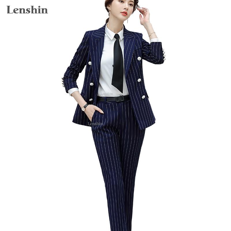 Lenshin High Quality 2 Piece Set Striped Formal Pant Suit Soft And Comfortable Blazer Office Lady Uniform Designs Women Business