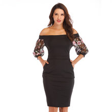 Hot Sale Summer One-Word Neck Hip Sexy Dress Women Temperament Office Ladies Embroidery Lace Three-Quarter Sleeves New Vestido