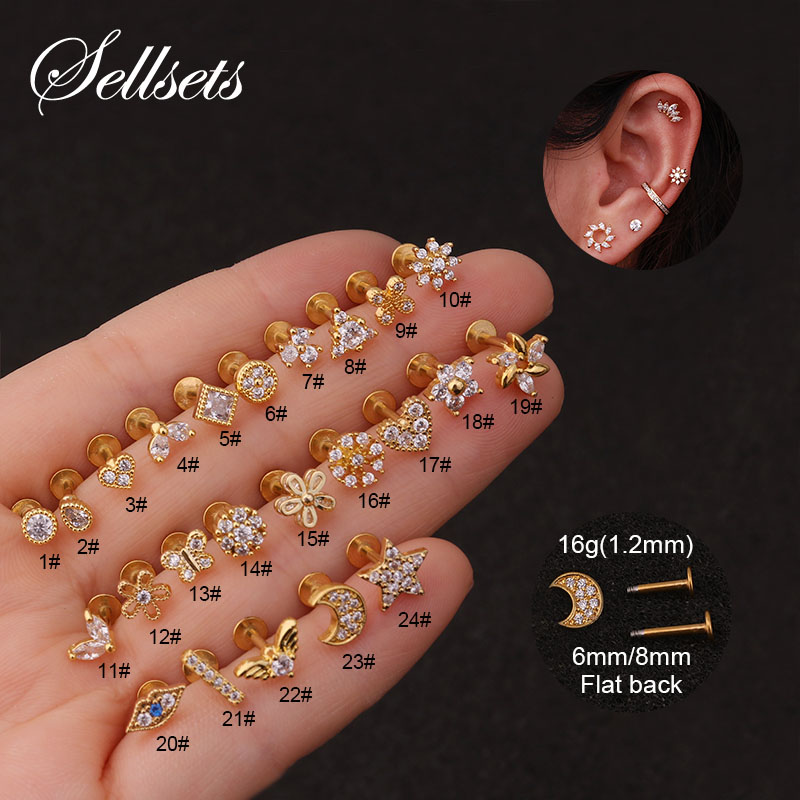 New Arrival 16Gx6/8mm Flat Labret Back Ear Piercing Crystal Cz Mini Cartilage Helix Daith Conch Rook Tragus Earring Stud