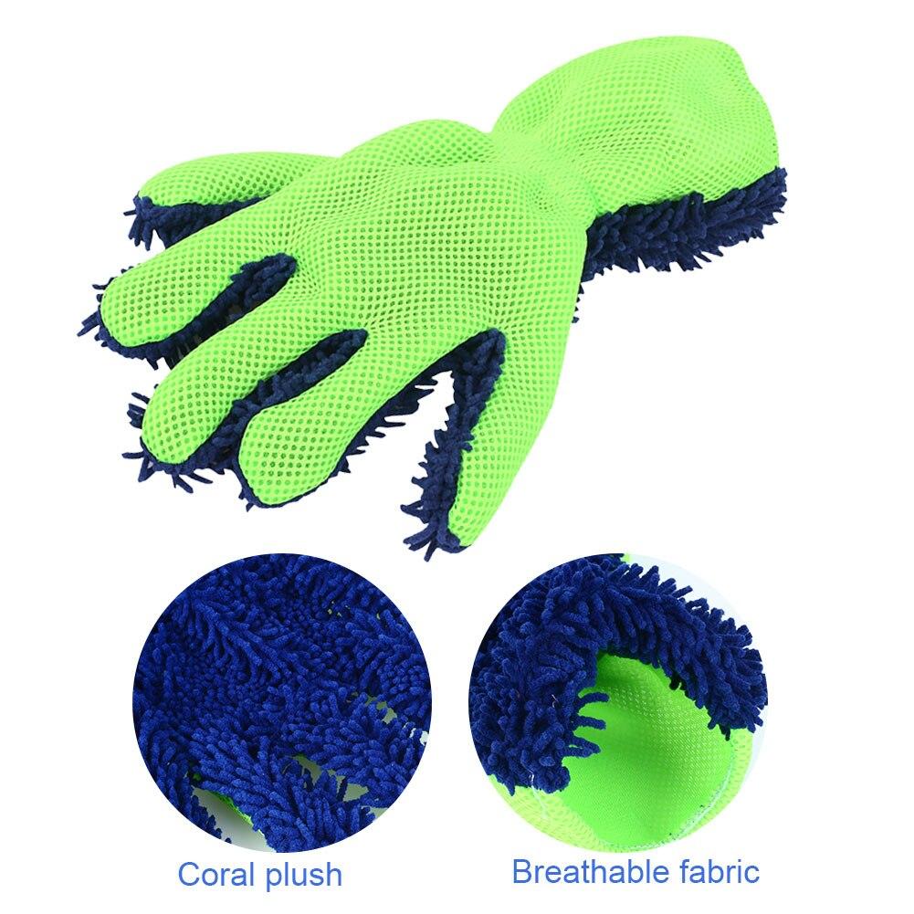 Vehemo коралловый флис пять пальцев перчатки для чистки автомобилей автомойки перчатки из микрофибры Инструмент воска Универсальные перчатки из микрофибры стирка