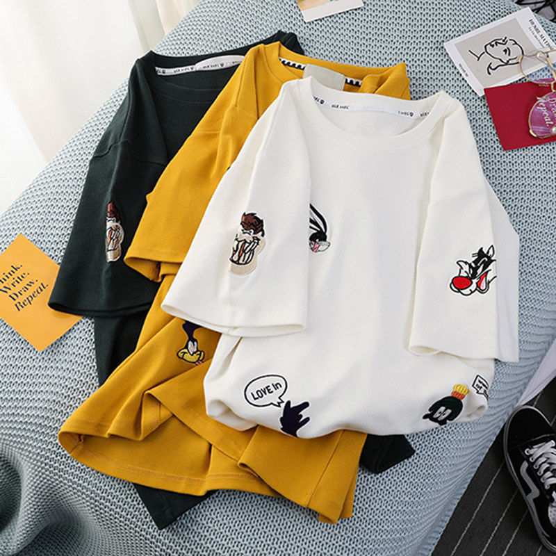 Plus Size Women's Summer T Shirts 2019 New O Neck Short Sleeve Cute Cartoon T Shirt for Girls Students Lady BF Style Tops Tees T-Shirts  - AliExpress