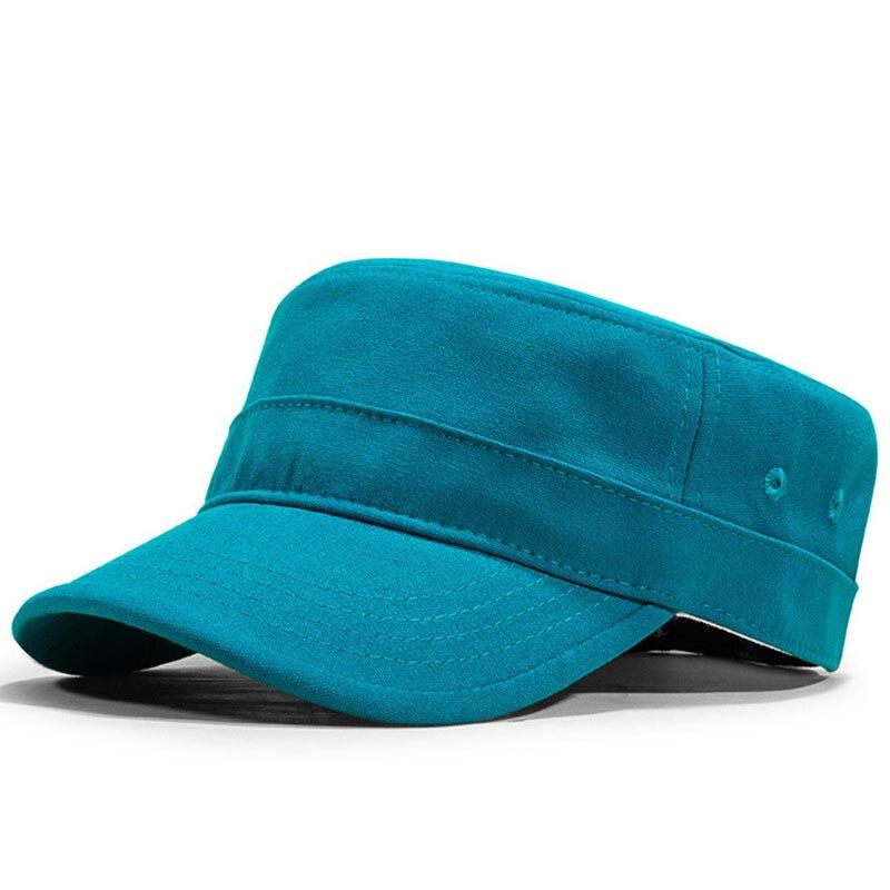 Fibonacci High Quality Solid Color Military Cap Cotton Flat Top Men Tactical Army Hat
