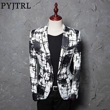 PYJTRL Brand M 5XL Tide Men Ink Style Hit Color Fashion Leisure Suit Jacket Blazer Designs Masculino Slim Fit Costume Homme
