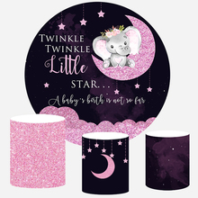 Baby Dumbo Photography Backdrops Pink Sequins Twinkle Star Background baby shower birthday party Banner Circle Round Backdrop