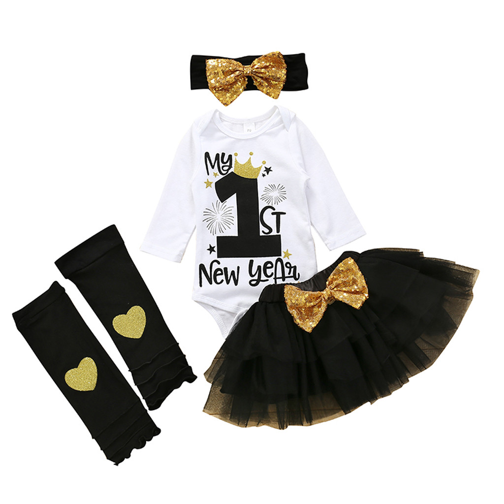 Hot Sale 464b01 Baby Girls Sets My First New Year New Year Birthday Long Sleeve Romper Tutu Skirt Stocking Headband Newborn Girls Sets Outfits Cicig Co